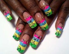 nail art rainbow candy stripe nails