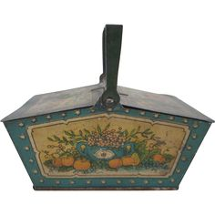 Tin Litho Penny Toy Picnic Basket Fruit Design www.rubylane.com #vintagebeginshere