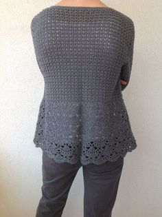 Women Crochet Cardigan/Gray Crochet Jacked/Crochet Cotton