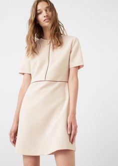 Vestido ribetes calados | MANGO
