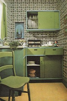 1970s Interior Design. Darker pastels good for the kitchen. and would work in a country cottage. Mixing the two is going to be a challenge but I loveeeee the idea