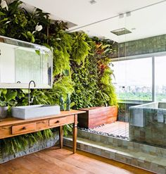 Create the bathroom while making a tropical oasis Outdoor Bathrooms, Dream Bathrooms, Garden Bathroom, Vertical Garden Wall, Toilet Design, Plant Wall, Bathroom Interior Design, Interior And Exterior, Home And Garden