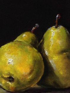 Peras verdes Original pintura al óleo por Nina R.Aide Still