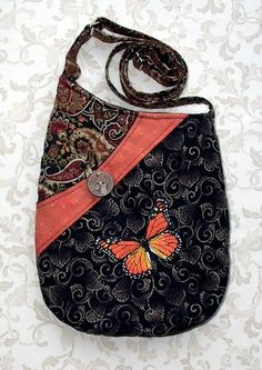 Small Shoulder Bag Quilted Fabric Purse with Embroidered Monarch Butterfly in Black, Teal and Orange Fabric Purses, Fabric Bags, Handmade Purses, Computer Bags, Denim Bag, Purse Patterns, Quilted Bag, Small Shoulder Bag, Tote Purse