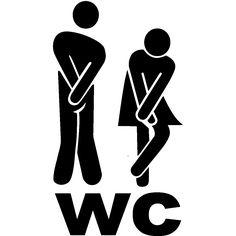 Muurstickers voor deuren - Mursticker deur WC figuren 1