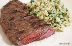 Pan-seared Skirt Steak Recipe with Cilantro-Lime Cauliflower Rice