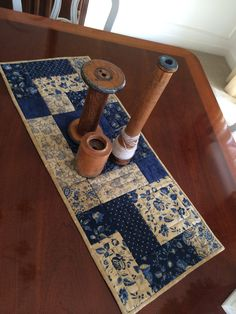 Lexington Indigo Blue & Beige Quilted Table Runner by seaquilt