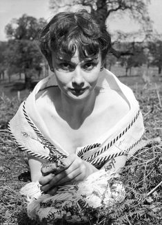 Hepburn looks resplendent as she peers directly into the camera during the shoot at Richmond Park in spring