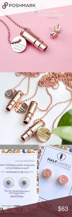 """Necklace + Earrings Rose Gold Bullet Set Special bundle includes: 1 Fighting Hunger Bullet Necklace and 1 Bullet Top Stud Earrings.   Beautiful Rose Gold set provides 14 meals to children in need! Originally designed recycled bullet casing. USA handcrafted.  Necklace details: 30"""" rose gold ball chain. Rose gold plated charm: """"HALF UNITED FIGHTING HUNGER"""".   Earrings details: 9mm casing top, rose gold plated, hypoallergenic earring posts.   No trades. Ships daily Mon to Fri. Add to Bundle…"""