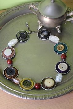 Buttons and Nespresso Capsules Necklace idea