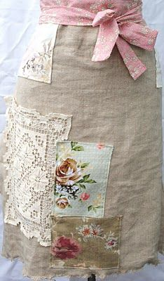 Make a simple half-apron with vintage lace and fabrics. No need to be all matchy or symmetrical.