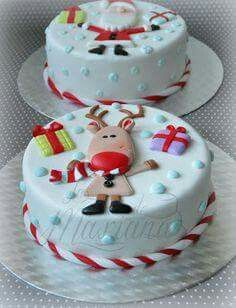 Rudolph Reindeer and Santa Cake Christmas Themed Cake, Christmas Cake Designs, Christmas Cake Decorations, Christmas Sweets, Christmas Cooking, Holiday Cupcakes, Holiday Desserts, Decoration Patisserie, Celebration Cakes