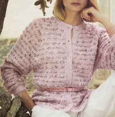 Vintage Knitting Pattern Instructions to make a Ladies Cardigan 5 Sizes