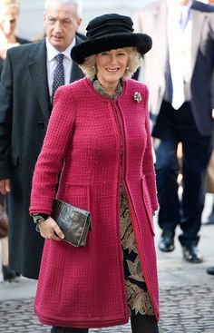 LONDON - FEBRUARY 7: Camilla, Duchess of Cornwall arrives at Westminster Abbey for a service to mark the bicentenary of Charles Dickens on February 7, 2012 in London, England. (Photo by Samir Hussein/WireImage)
