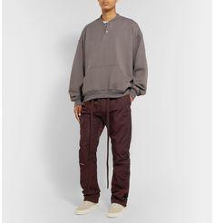 Fear Of God Black Slim-fit Belted Logo-appliquÉd Nylon-twill Trousers In Burgundy Fashion Advice, Fashion News, Fashion Online, Mens Fashion, Mr Porter, Designer Clothes For Men, Top Designer Brands, Street Wear, Trousers