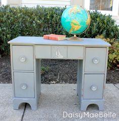 annie Sloan Graphite + Old White Chalk Painted Sailboat Desk | daisymaebelle