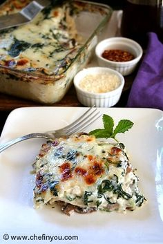 Vegetarian Italian (Gluten Free) dish of pasta layered with spinach, mushroom, ricotta, mozzarella cheese & bechamel sauce is very popular & rich tasting but easy to make.