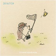 """namiharinezumi: """" 923 虫捕り a butterfly net """""""