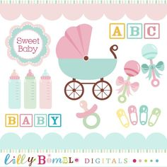 Baby shower clipart pink and light teal digital por LillyBimble