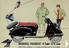 1960 Heinkel Tourist 175 ccm - Promotional Advertising Poster Lambretta Scooter, Vespa Scooters, Scooter Custom, Motor Scooters, Scooter Girl, Advertising Poster, Cool Bikes, Rolls Royce, Vintage Posters