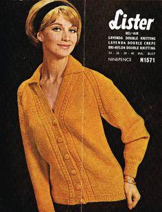 00a42d1f4c1 Lister 1571 cardigan ladies vintage knitting pattern Listing in the Ladies  DK