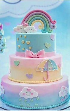 A rainbow cake is fun to look at and eat and a lot easier to make than you might think. Here's a step-by-step guide for how to make a rainbow birthday cake. Baby Cakes, Girl Cakes, Baby Shower Cakes, Cupcake Cakes, Macaron Cake, Cake Fondant, Fondant Toppers, Cloud Cake, Rainbow Baby