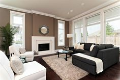 famiily rooms modern and neutral | Neutral Family Room Design Energized By Deep Brown Accent Wall Colors ...