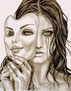 Sad Sketches, Sad Drawings, Dark Art Drawings, Pencil Art Drawings, Art Drawings Sketches, Smile Drawing, Mask Drawing, Deep Art, Arte Obscura