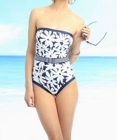 Anne Cole Signature One Piece Sz 14 White Navy Blue Floral Belt Swimsuit 14MO004 #AnneCole #OnePiece