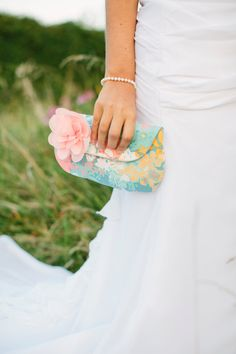 Bridesmaid Clutch Purses Grey and Coral Pink