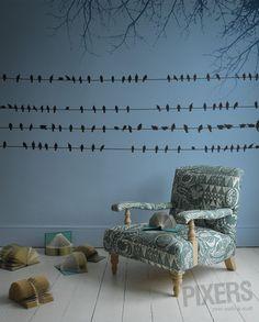 Papier peint Oiseaux sur fils