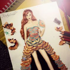 This dress created by Kristina Webb is made using pencil shavings.