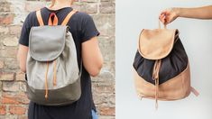Sew a leather and canvas backpack with your sewing machine Sew a leather and canvas backpack with your sewing machine - Alles zum Nähen Diy Backpack, Rucksack Backpack, Canvas Backpack, Leather Backpack, Coin Couture, Modern Sewing Patterns, Backpack Pattern, Convertible Backpack, Textiles