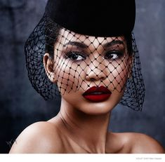 Chanel Iman channels retro beauty for Violet Grey feature. Photo by Ben Hassett, with Tom Kono on hair and makeup by Violette