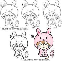 How to Draw a Cute Chibi Character in Bunny Rabbit Onesie Pajamas Costume Easy Steps Drawing for Kids - How to Draw Step by Step Drawing Tutorials Chibi Girl Drawings, Doodle Drawings, Cartoon Drawings, Cute Drawings, Realistic Drawings, Chibi Bunny, Cute Chibi, Girl Drawing Easy, Drawing For Kids