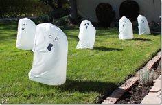 Trash bag Halloween ghosts - Halloween yard decorations for like -- 2 cents each!