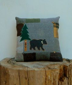 Wool Bear Pillow Lodge Decor Pinetree Upcycled Wools Patchwork Cabin Decor Woodland Mountain Home.