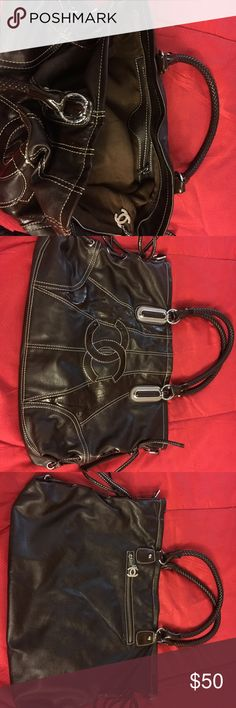 Large bag/purse Very dark brown large women's bag/purse. Hardly used. Bags Shoulder Bags