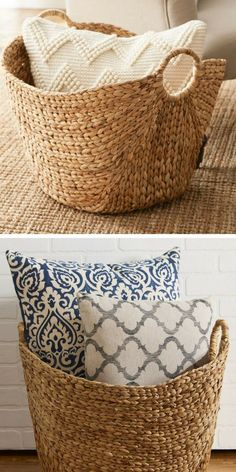 Beautiful seagrass baskets would look great in any room to organize books, shoes, throw pillows, etc. By Laurel Foundry Modern Farmhouse #ad #farmhousestyle #baskets #organization #homedecor #farmhousedecor