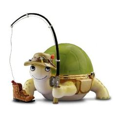 """""""Heart And Sole"""" Turtle Fisherman Music Box -- [Turtle and his cleverly-detailed fishing gear are handcrafted Heirloom Porcelain®."""" Measures L]~[from The Bradford Cute Turtles, Sea Turtles, Turtle Rock, Turtle Time, Turtle Crafts, Dog Jokes, Tortoise Turtle, Turtle Pattern, Glass Figurines"""