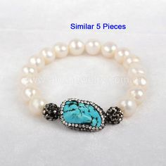 5 Strands Howlite Turquoise With Paved CZ & White Pearl Bead Bracelet QJ151-1 #Alicejewelry