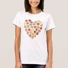 d4343d497af40 Fall leaves in the shape of a heart white T-Shirt #katz_d_zynes Simple  Shirts