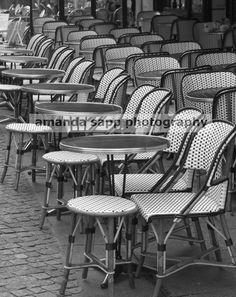 Paris Bistro Cafe Chairs Black And White Fine Art By Carolsapp