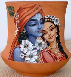 Panihati Pot- Radha Krishna  by Candrika art