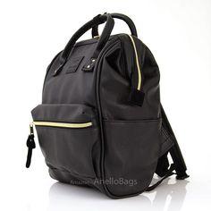 Japan Anello Backpack Unisex BLACK MINI SMALL PU LEATHER Rucksack School  Bag Campus. Size  Mini   Small PU Leather (H 32 x W 23 x D 14cm) Model   AT-B01212. 913fc03b6b48b