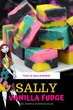 It's the Nightmare Before Christmas so what better time to make a batch of Sally Skellington Fudge! With swirls of pink, teal, black, and yellow to resemble Sally's iconic dress, this vanilla white chocolate fudge is a Halloween delight! Halloween Party Drinks, Halloween Cupcakes, Dessert Recipes For Kids, Cupcake Recipes, Sally Skellington, White Chocolate Fudge, Cheap Halloween Decorations, Vanilla Fudge, Purple Pumpkin