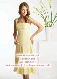 Sheath/Column Square Tea-length Chiffon Daffodil Party Dresses #AUSA016095