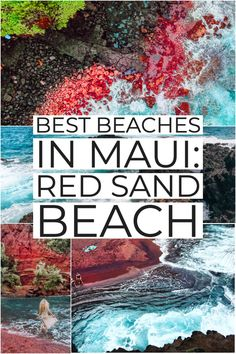Red Sand Beach -- or Kaihalulu Beach in Hawaii -- is one of the best beaches Maui offers. Maui beaches all seem to be amazing, but this red beach is a perfect piece of tucked away beachfront paradise. It may be just a stone's throw from Hana, but t Hikes In Maui, Best Beaches In Maui, Trip To Maui, Hawaii Vacation, Beach Trip, Hawaii Honeymoon, Beach Vacations, Hawaii Maui, Kauai