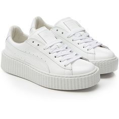 Fenty x Puma by Rihanna Puma x Rihanna Fenty Patent Leather Creepers (43.165 HUF) ❤ liked on Polyvore featuring shoes, sneakers, white, urban sneakers, platform sneakers, puma shoes, creeper sneakers and white lace up shoes