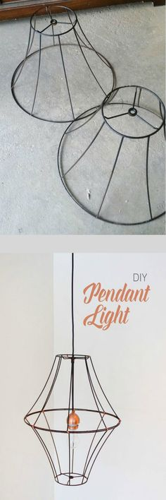 Lampshade Pendant Light Beautiful and inexpensive DIY Pendant Light - you could add crystals to give it a chandelier look.Beautiful and inexpensive DIY Pendant Light - you could add crystals to give it a chandelier look. Diy Pendant Light, Pendant Lighting, Diy Light, Diy Projects For Couples, Diy Chandelier, Light Project, Room Decor Bedroom, Diy Bedroom, Bedroom Lighting